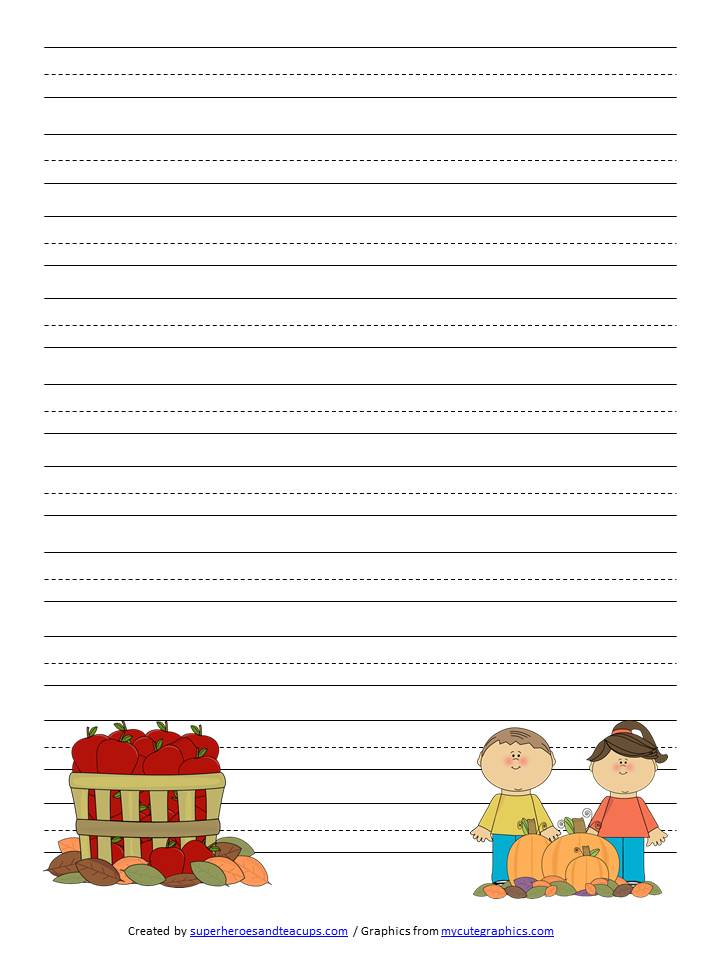 Fall Handwriting Paper Free Printable
