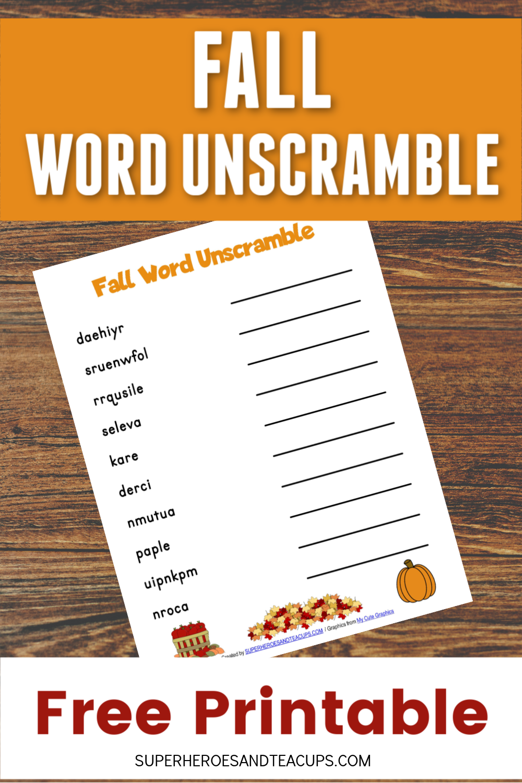 Fall Word Unscramble Free Printable