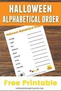 Halloween Alphabetical Order Free Printable