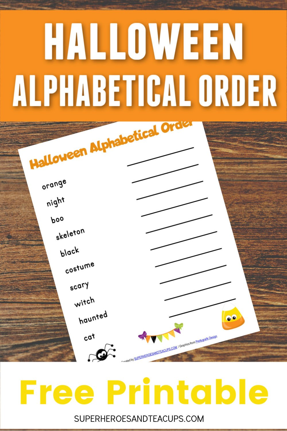 Halloween Alphabetical Order Free Printable