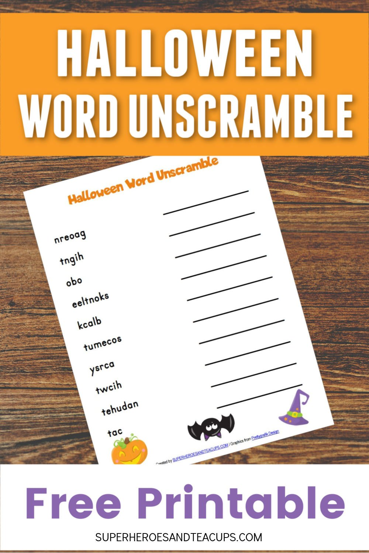 Halloween Word Unscramble Free Printable