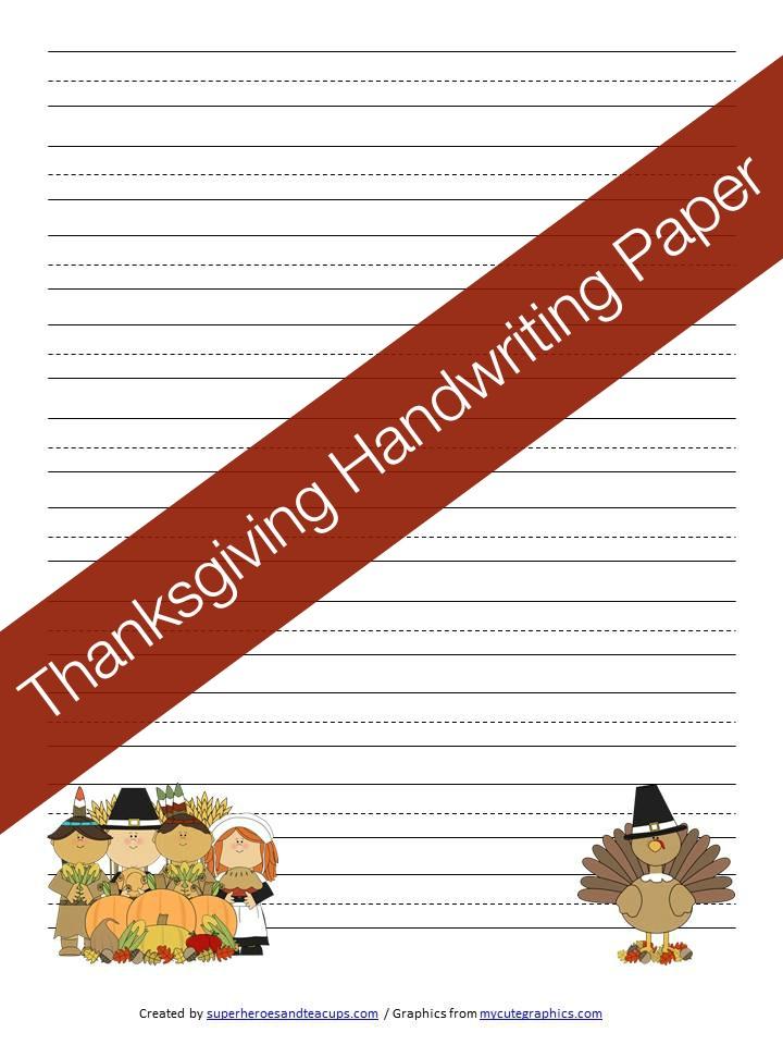Thanksgiving Handwriting Paper Free Printable