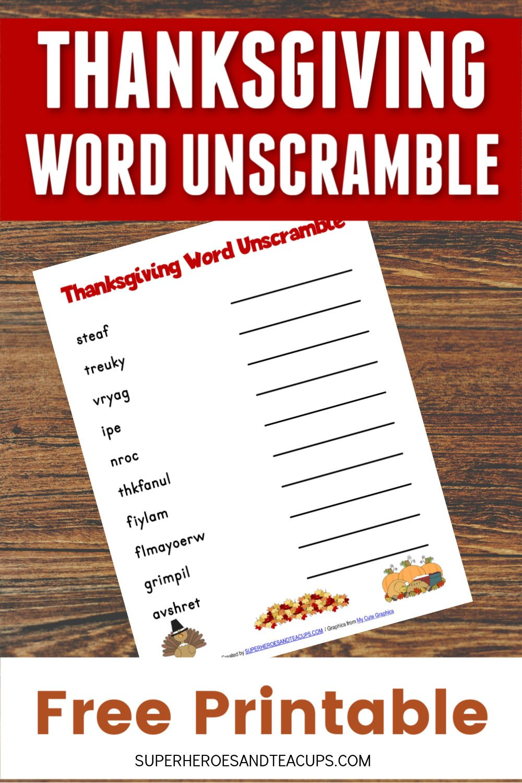 Thanksgiving Word Unscramble Free Printable
