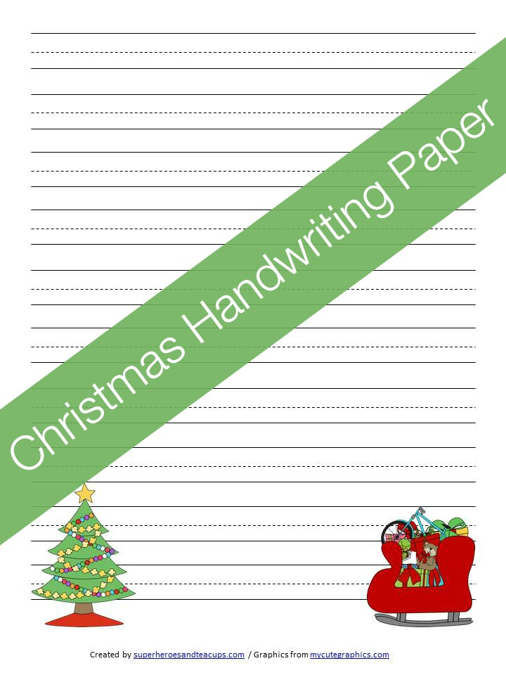 Christmas Handwriting Paper Free Printable  Handwriting Paper Printable Free