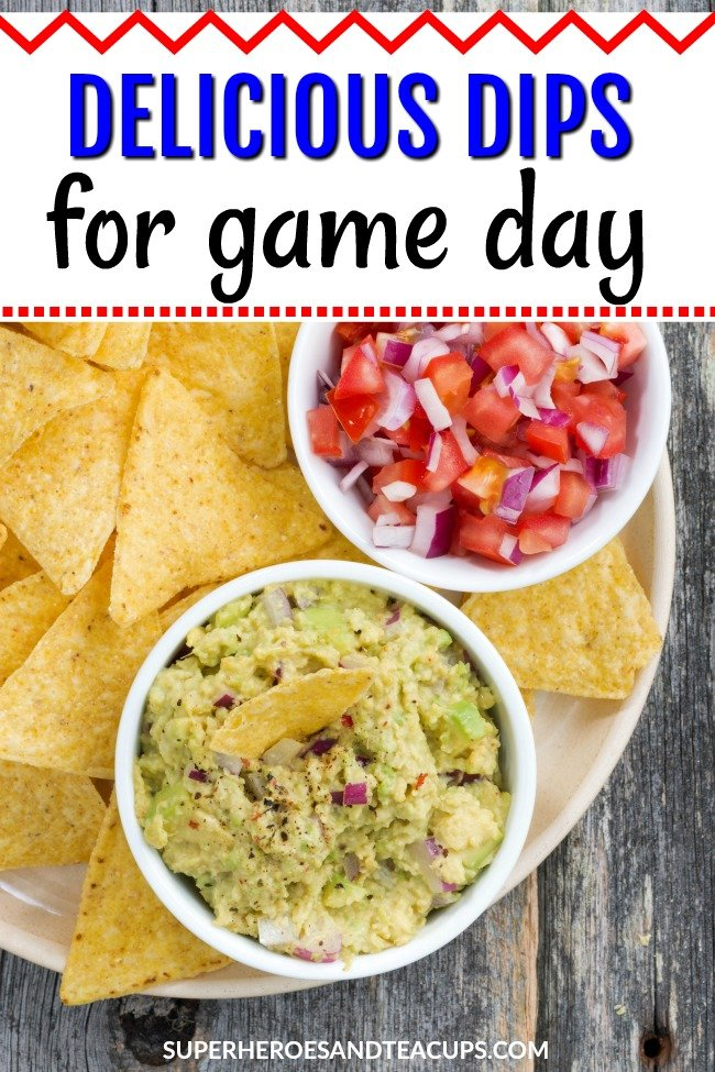 Game day means food and delicious dips are the best. These easy dip recipes will make your game day party even better. #diprecipes #gamedayrecipes #partyfood #easyrecipes #momresources #superheroesandteacups