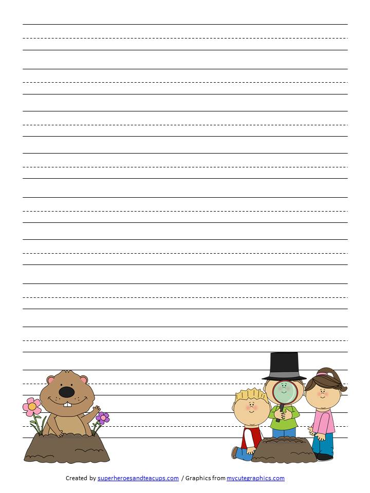 day handwriting paper printable groundhog day handwriting paper