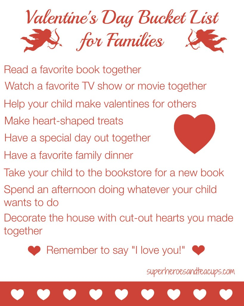 Valentines Day Bucket List for Families Free Printable