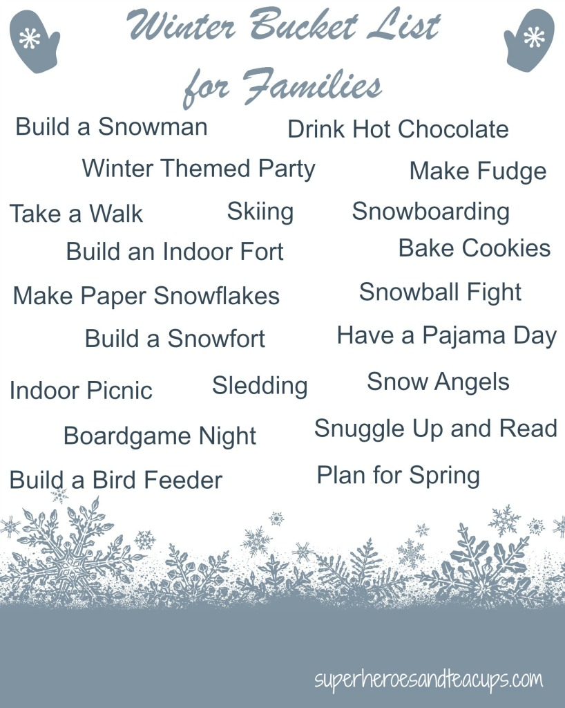 Winter Bucket List for Families Printable