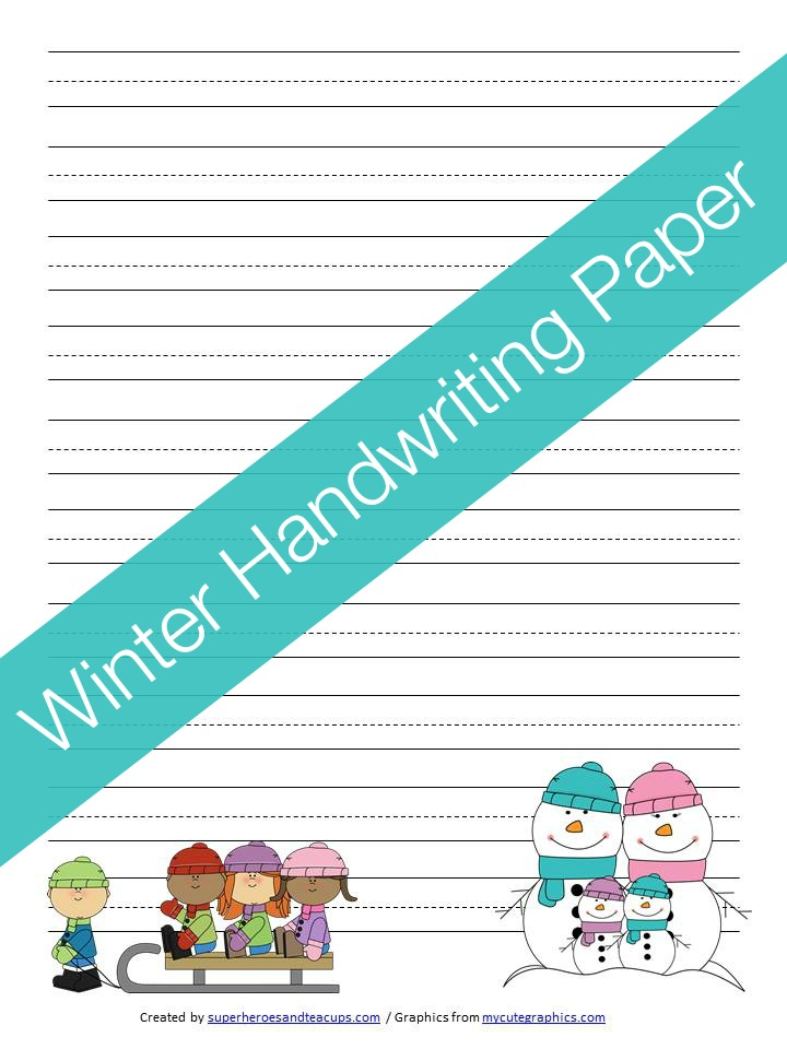 Winter Handwriting Paper Free Printable