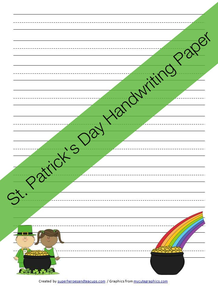 St. Patrick's Day Handwriting Paper Free Printable