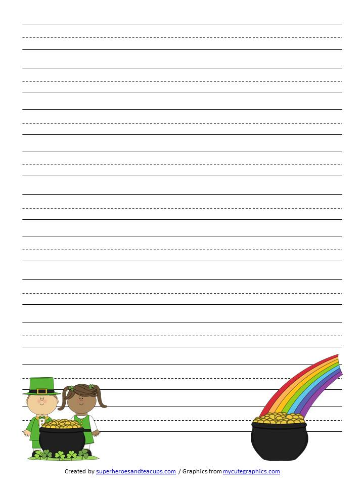 st patricks day writing paper These creative writing prompts are a fun st patrick's day activity each worksheet provides a different inspiration to help spark a child's creative writing print.