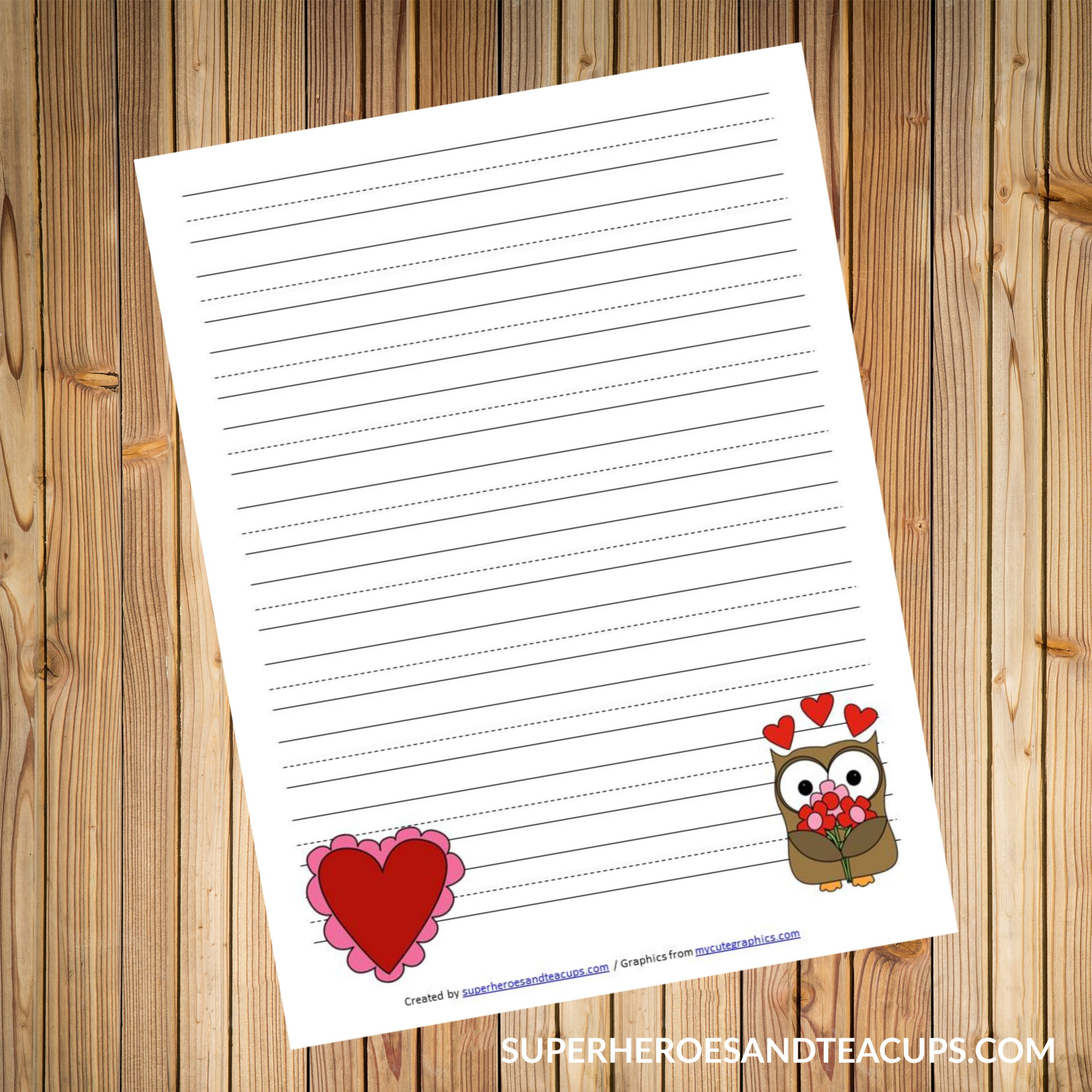 Printable Valentine's Day writing paper for kids on a wooden background.