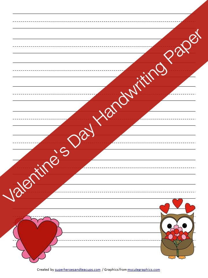 Valentines Day Handwriting Paper Free Printable