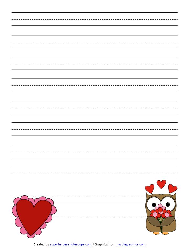 valentine u0026 39 s day handwriting paper free printable