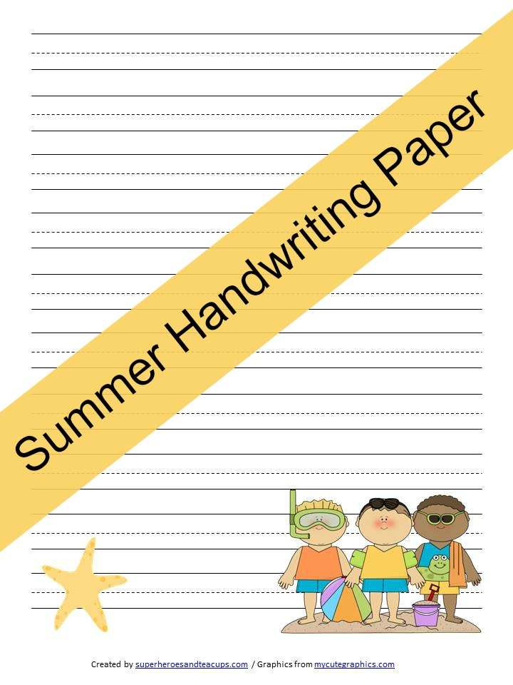 Summer Handwriting Paper Free Printable