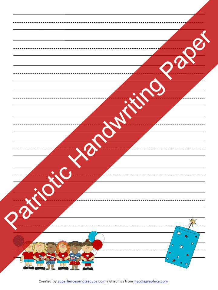 Patriotic Handwriting Paper Free Printable