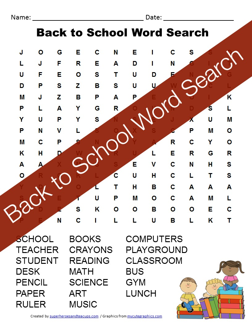 A back to school word search free printable for kids. 20 school related vocabulary words to find. #superheroesandteacups #backtoschool #wordsearches #freeprintables