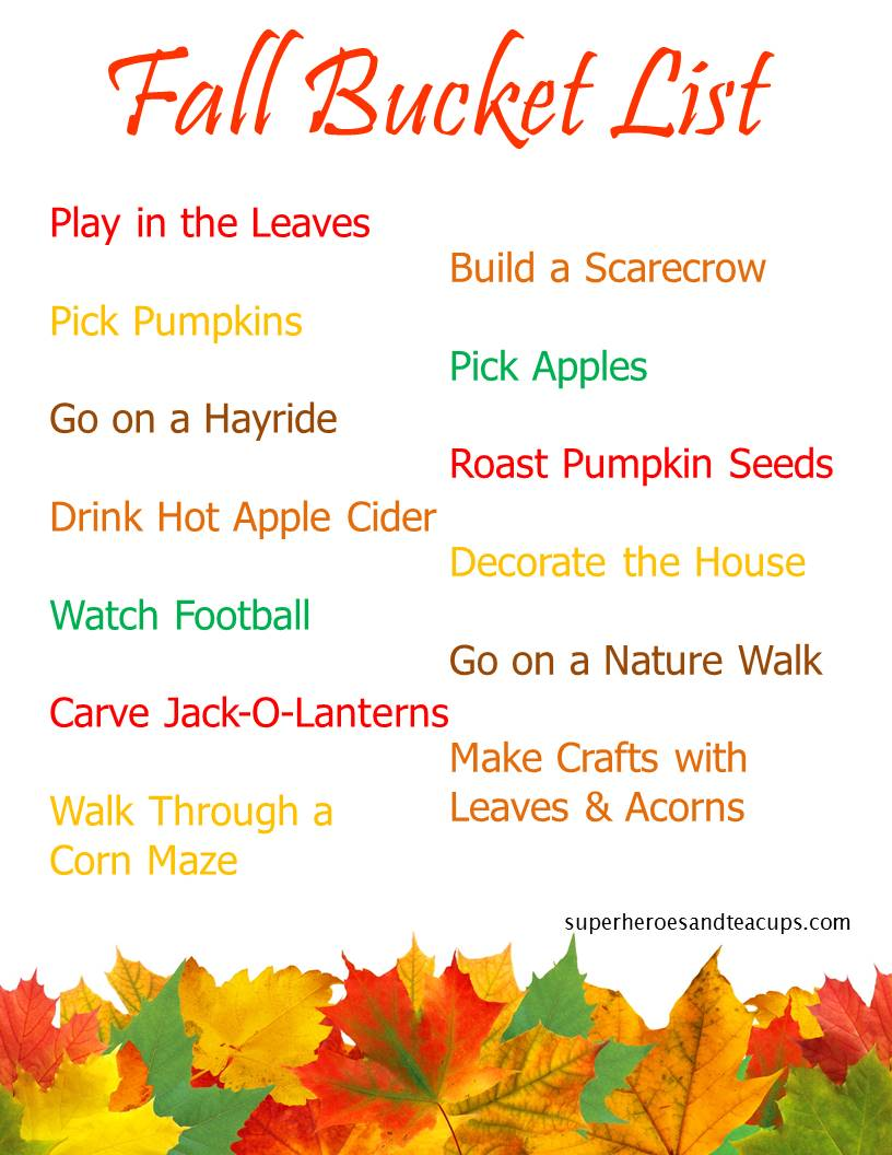 Fall Bucket List for Families Free Printable