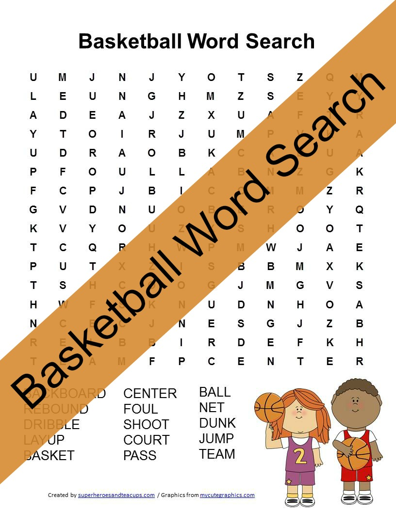 Basketball Word Search Free Printable