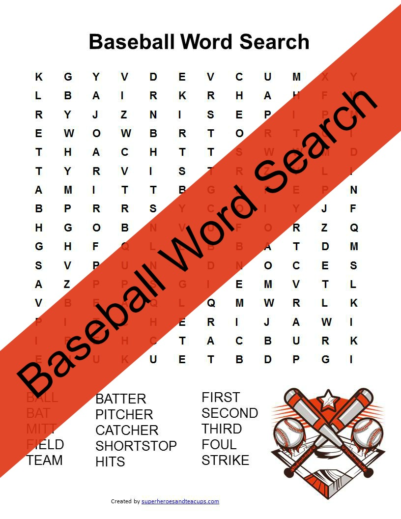 graphic about Baseball Printable titled Baseball Phrase Glimpse No cost Printable for Small children