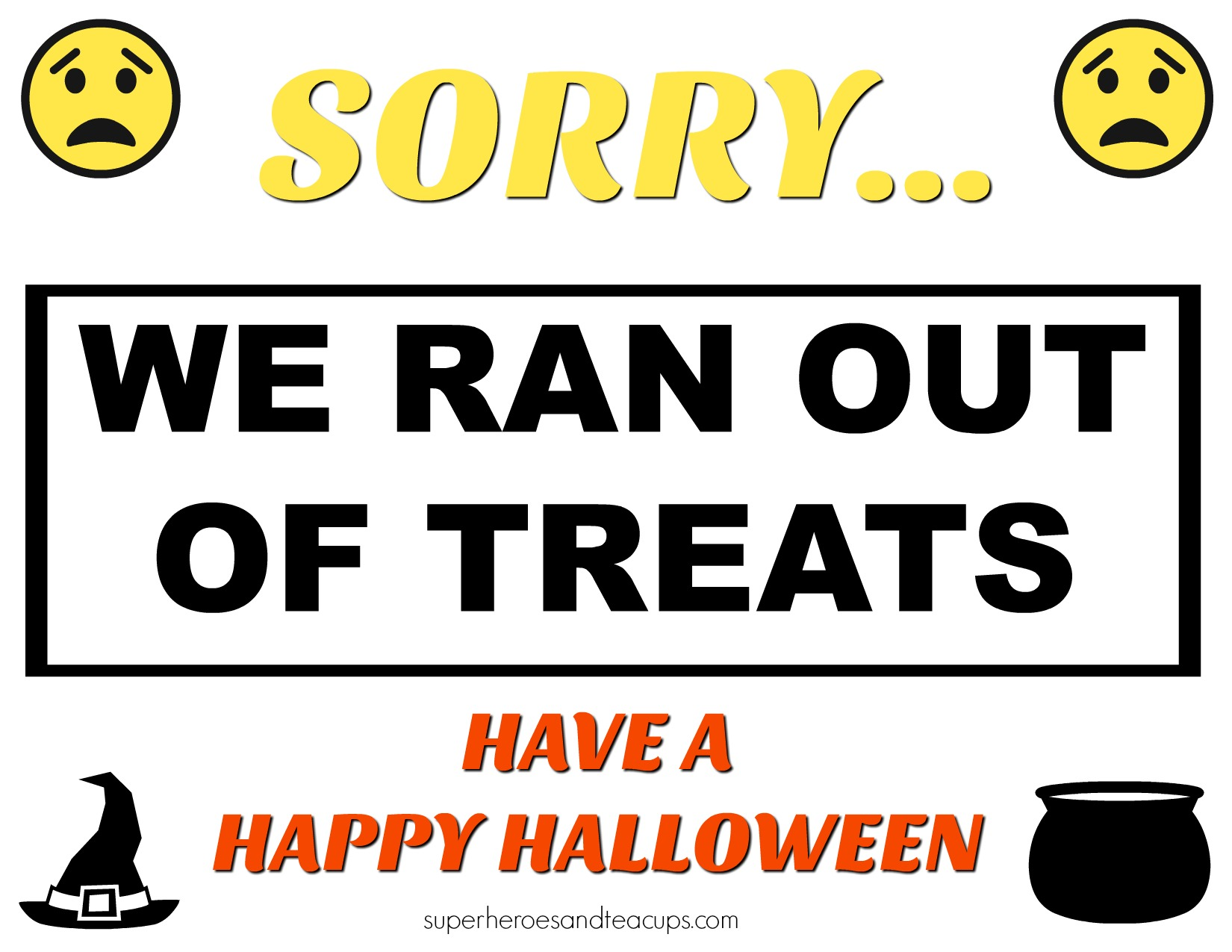 Free Printable Out of Treats Halloween Sign