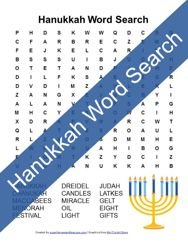 Hanukkah Word Search Free Printable
