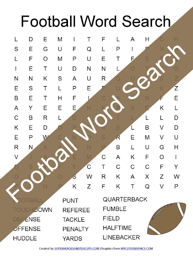 Football Word Search Free Printable for Kids
