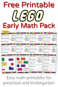 LEGO Early Math Pack Free Printables