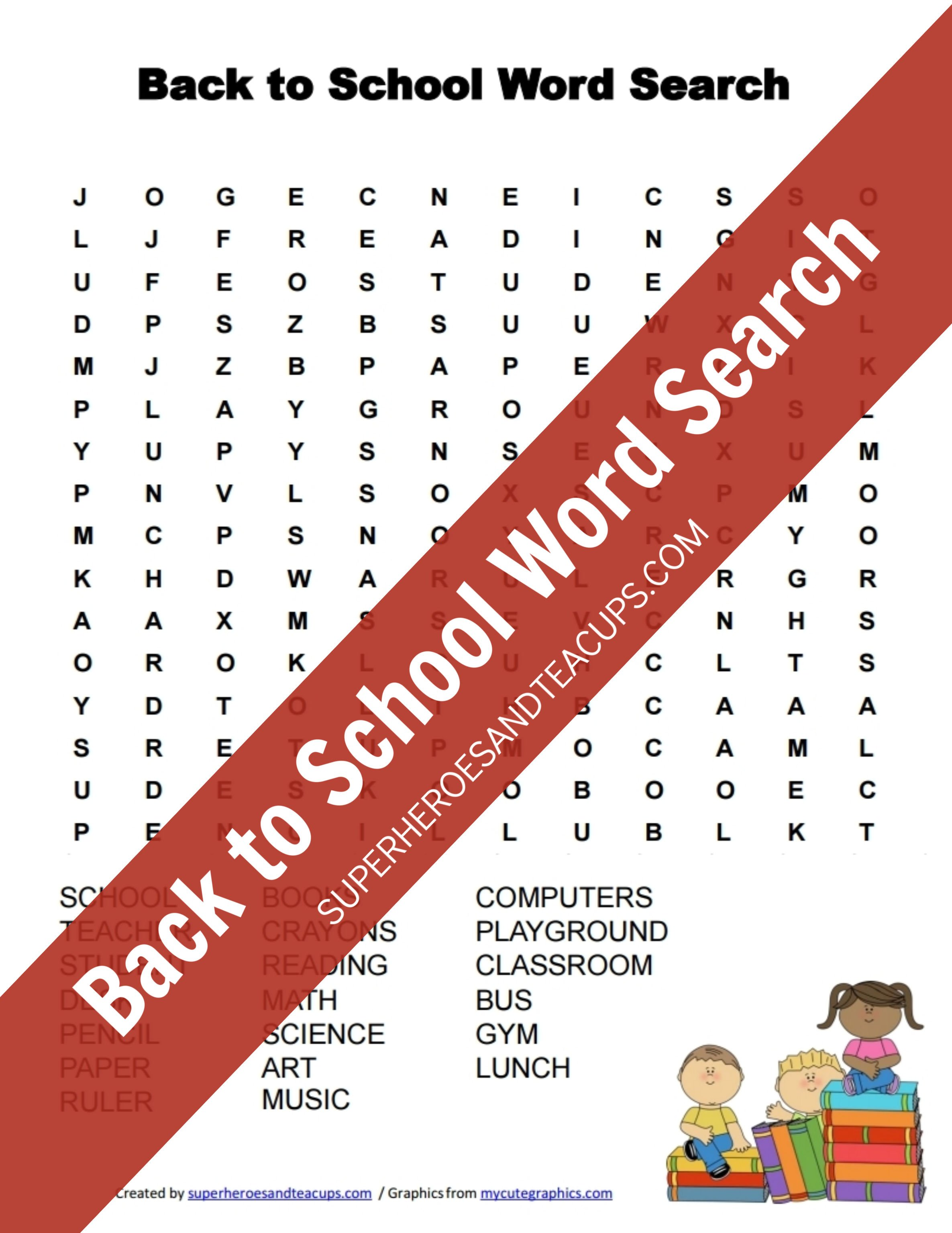 picture relating to School Word Search Printable referred to as Back again toward Higher education Phrase Seem Free of charge Printable Superheroes and