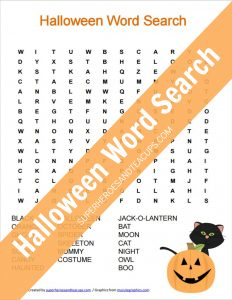 Halloween Word Search Free Printable for Kids