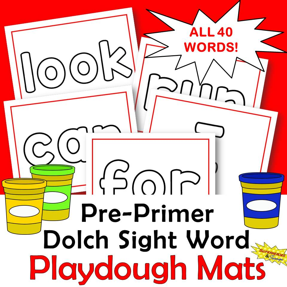 Pre-Primer Dolch Sight Word Playdough Mats