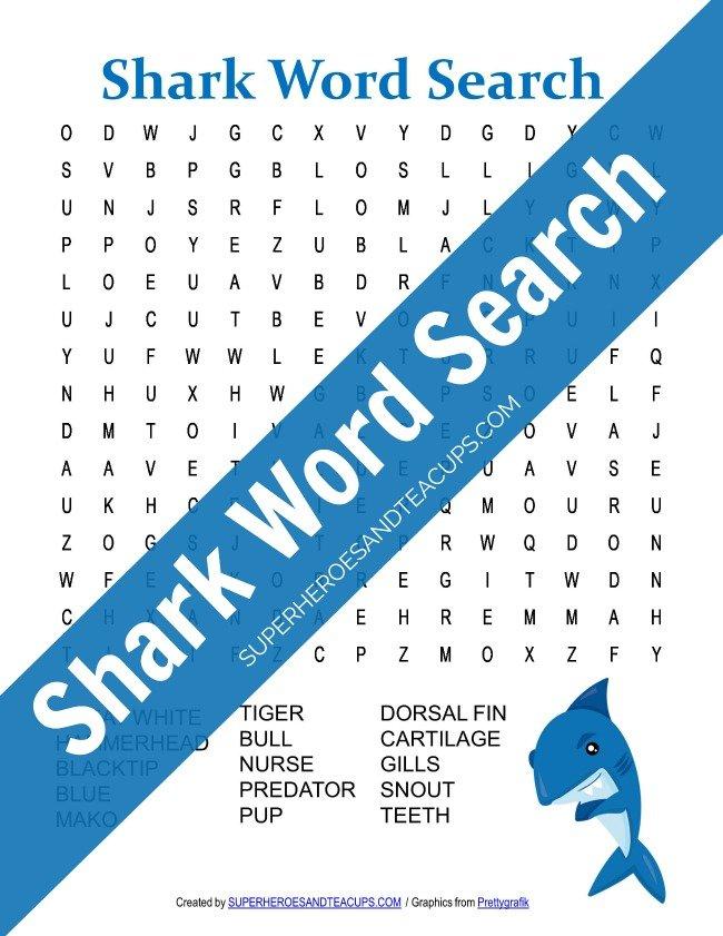Shark Word Search Free Printable