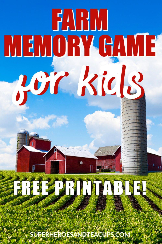 Farm Memory Game Free Printable for Kids