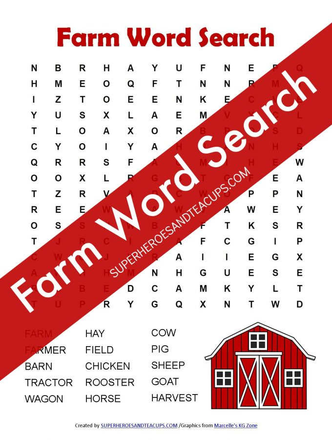 Farm Word Search Free Printable