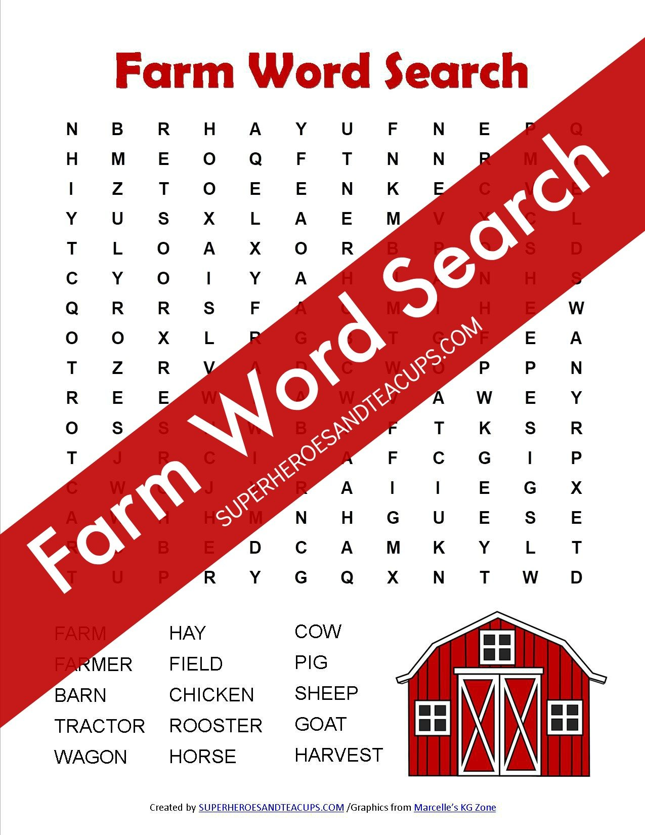 Farm Word Search Free Printable