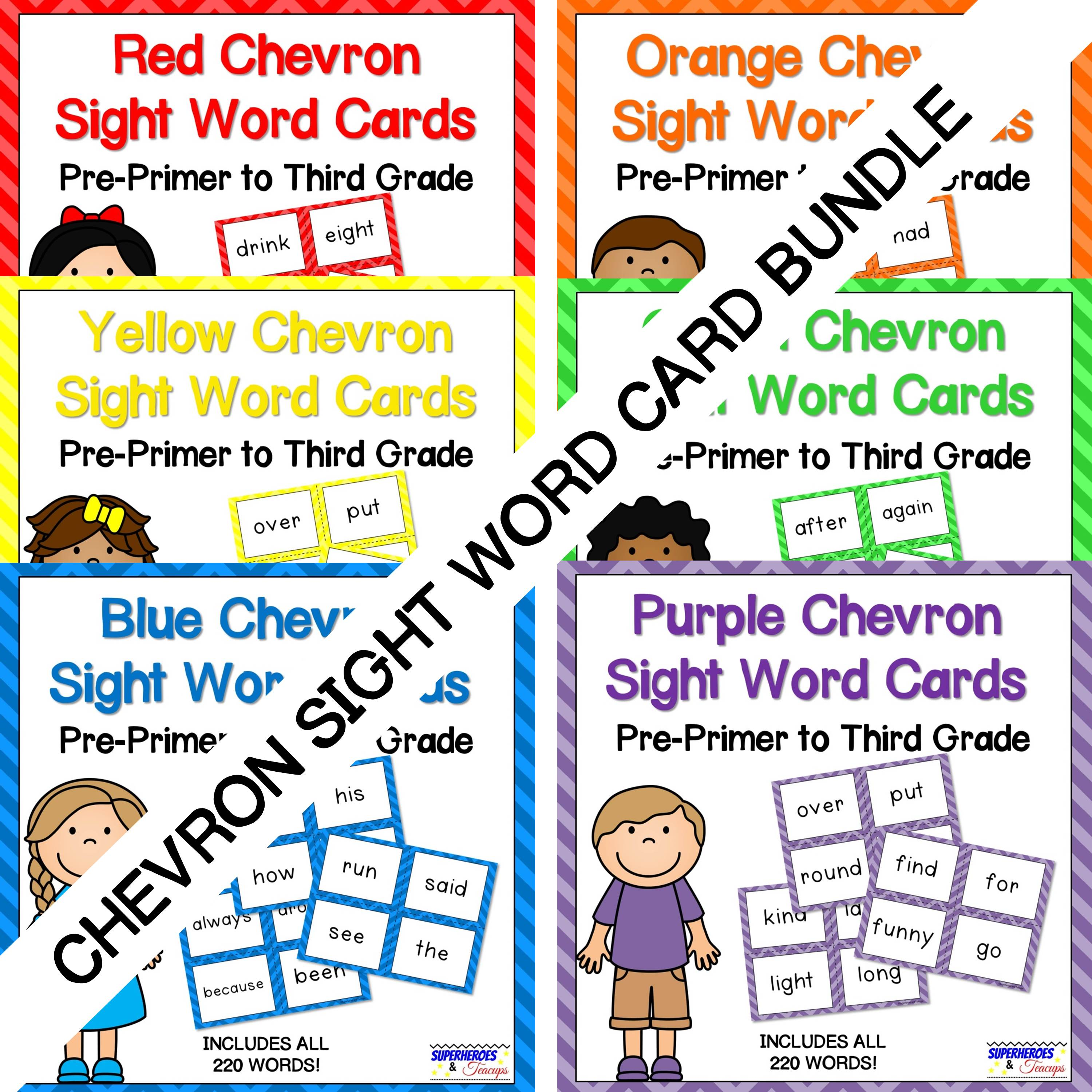 Chevron Sight Word Bundle for Early Readers