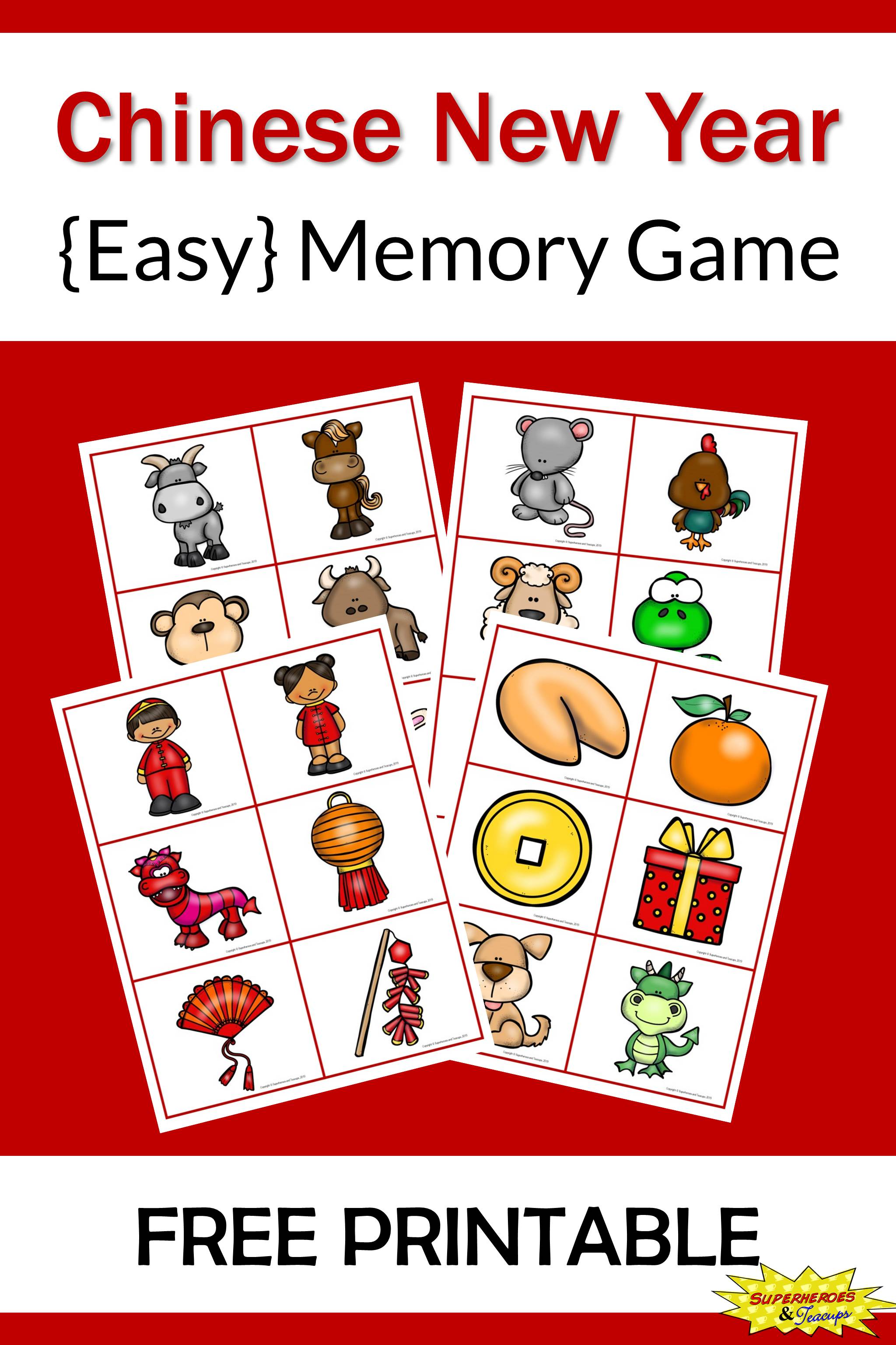 Help your child better understand Chinese New Year with this easy memory game. It includes 24 pictures all related to the holiday. Click through to download your copy! #memorygames #freeprintables #matchinggames #ChineseNewYear #learningideas #superheroesandteacups