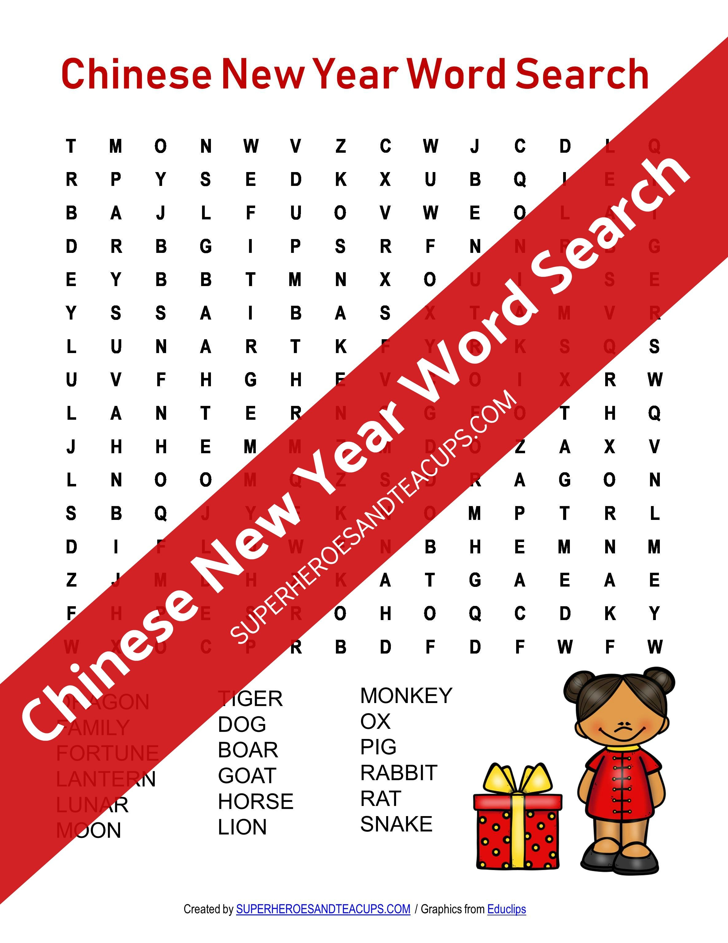 Chinese New Year Word Search Free Printable for Kids