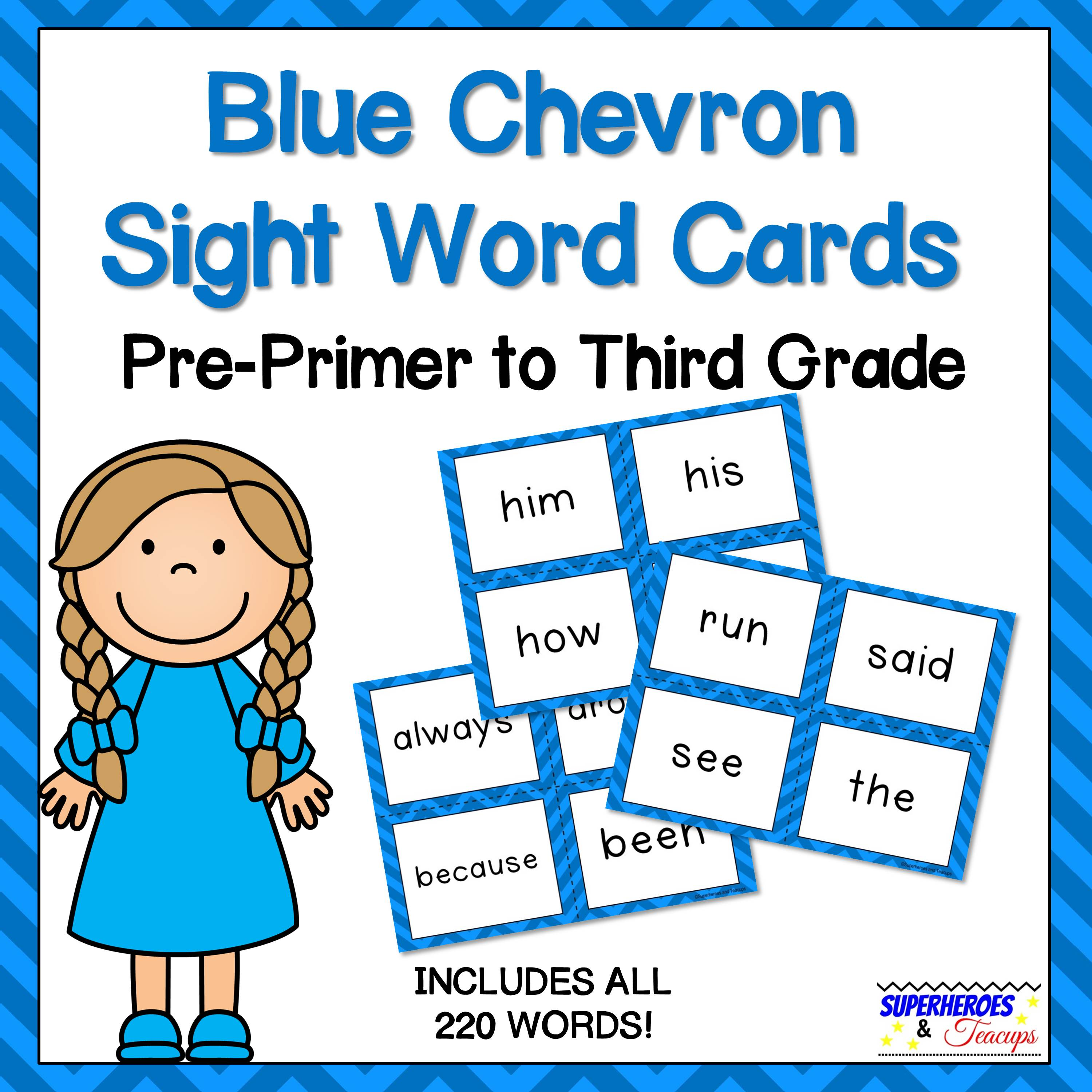Blue Chevron Sight Word Cards for Early Readers