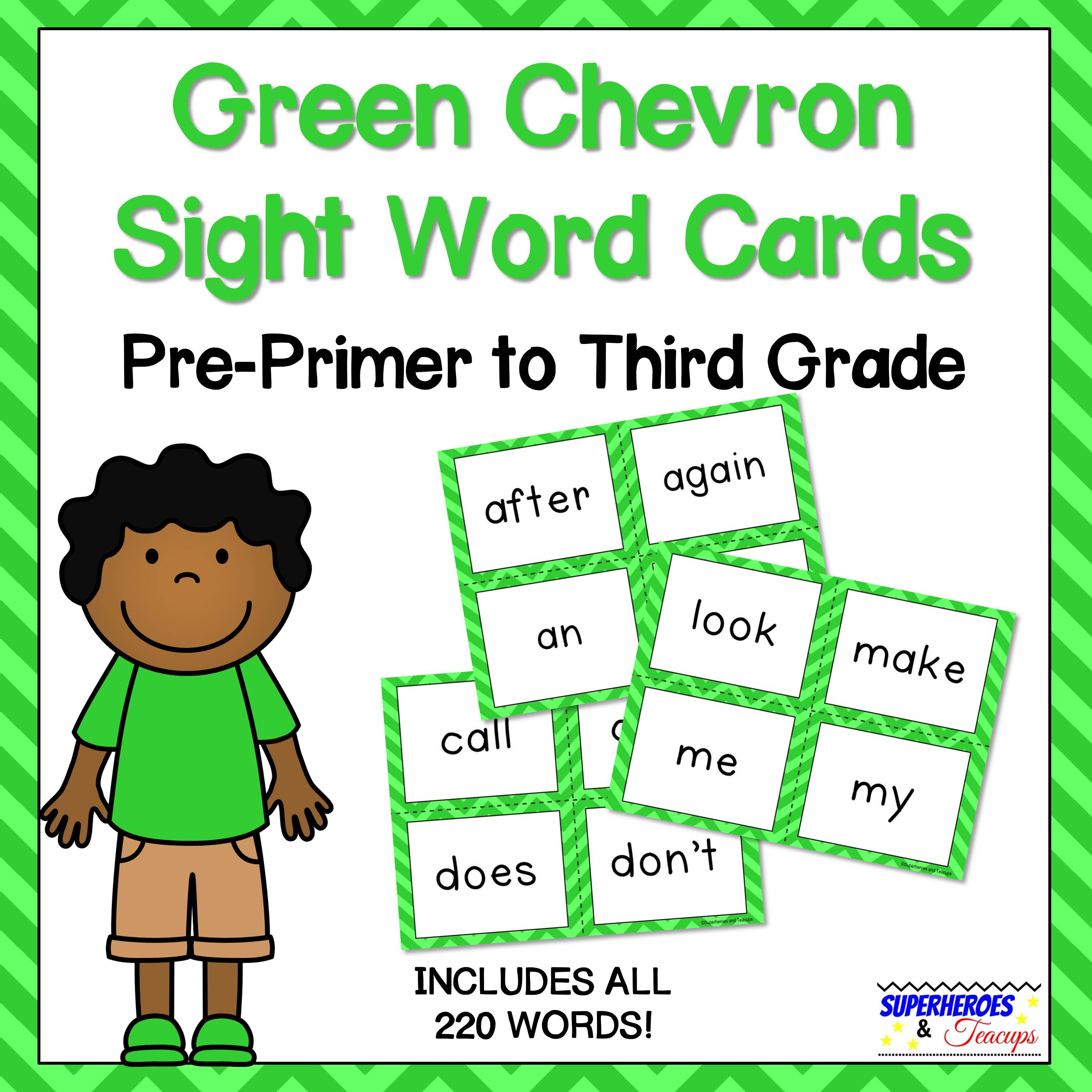Green Chevron Sight Word Cards for Early Readers
