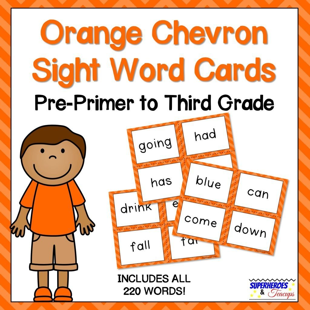 Orange Chevron Sight Word Cards for Early Readers