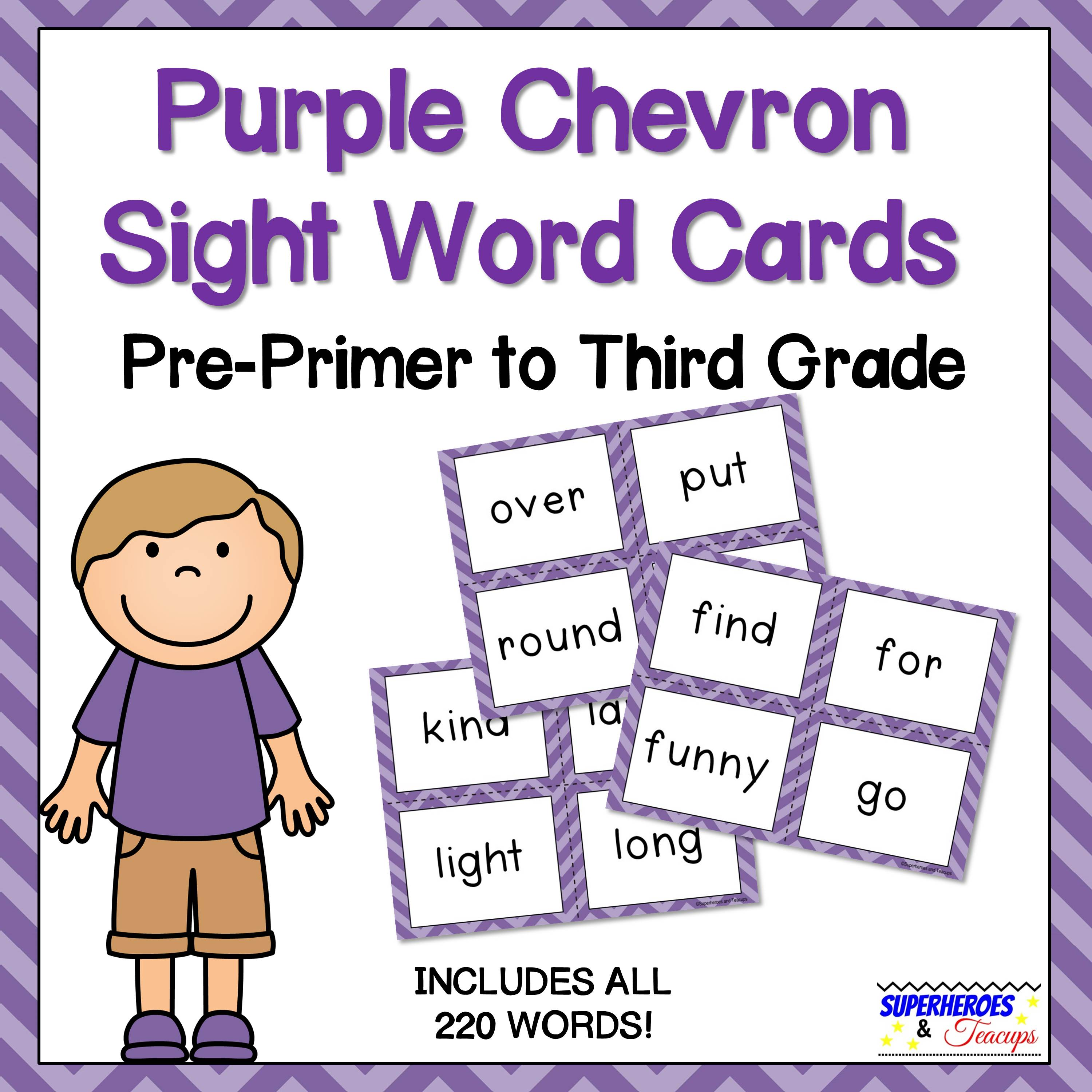 Purple Chevron Sight Word Cards for Early Readers