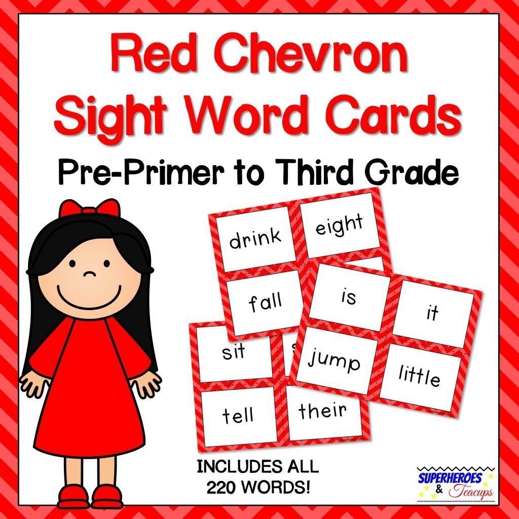 Red Chevron Sight Word Cards for Early Readers