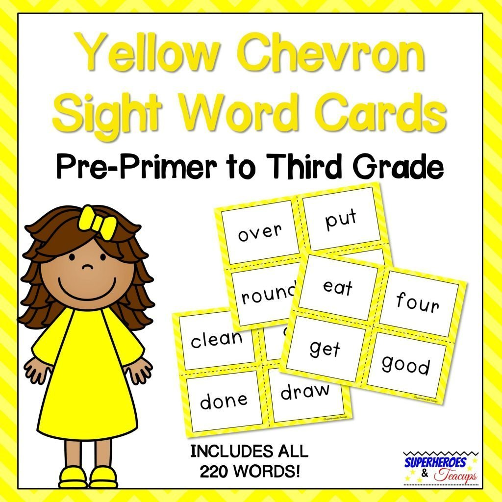 Yellow Chevron Sight Word Cards for Early Readers