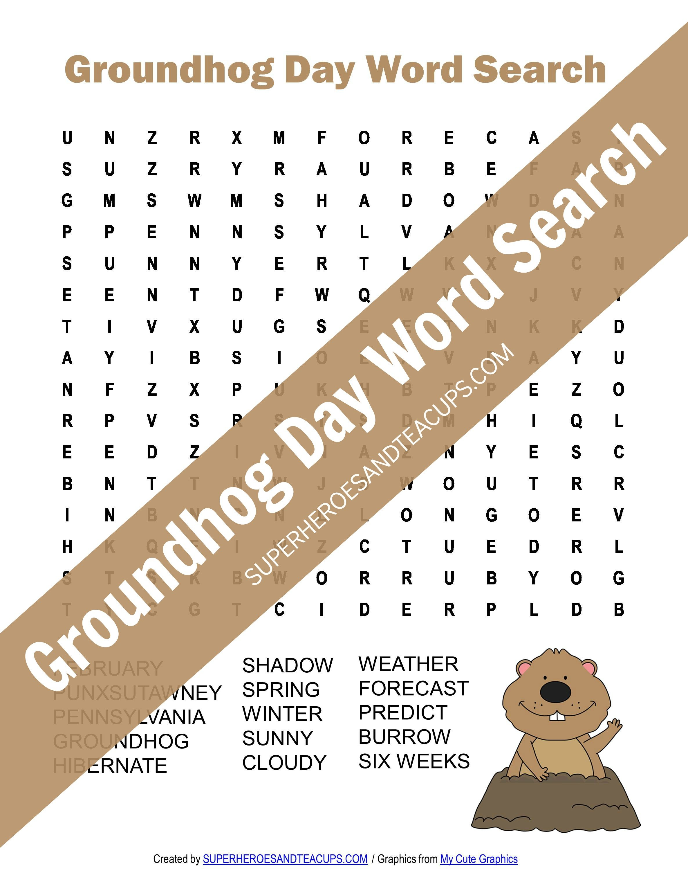 image relating to Groundhog Day Word Search Printable titled Groundhog Working day Phrase Glimpse Free of charge Printable
