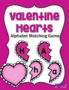 Valentine Hearts Alphabet Matching Game