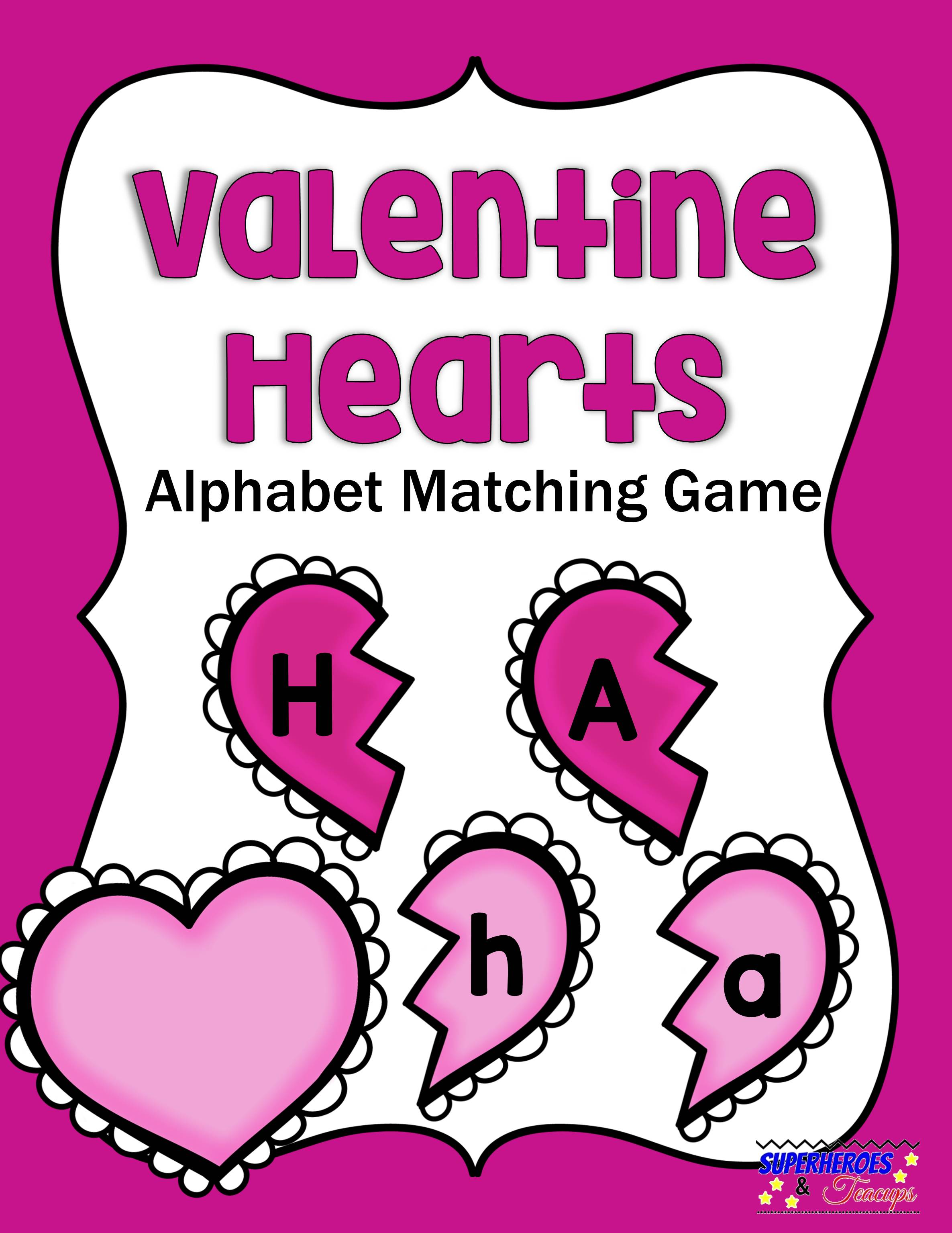 image regarding Printable Valentine Hearts titled Valentine Hearts Alphabet Matching Activity Totally free Printable No cost