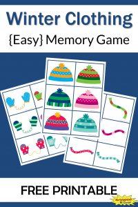 Winter Clothing Memory Game Free Printable