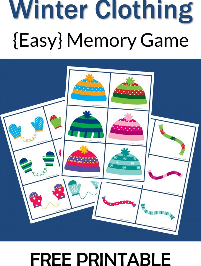 Winter Clothing Memory Game Free Printable
