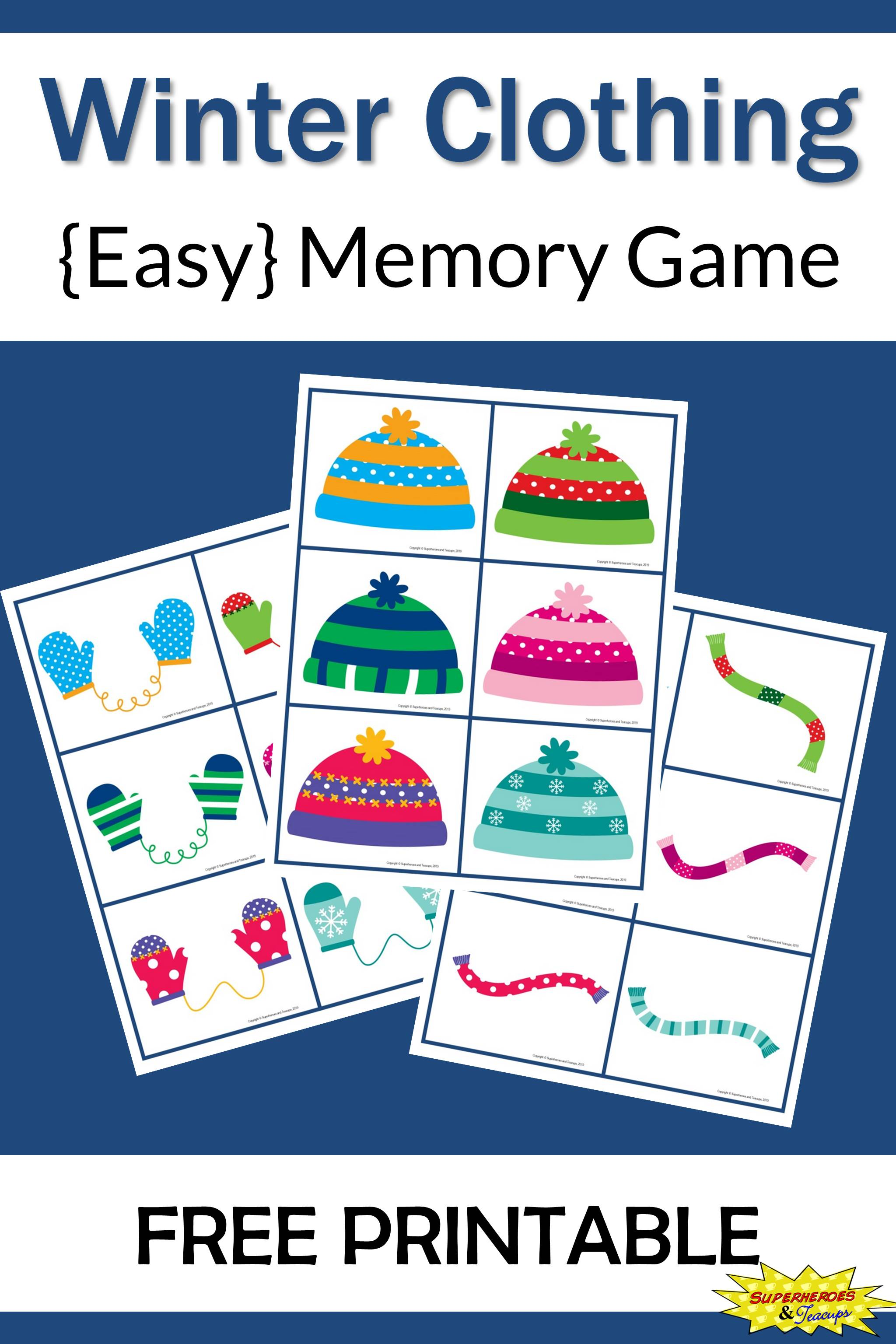 If your child is stuck inside because of the winter weather, give this easy winter clothing memory game a try. Click through to download your copy! #memorygames #winterprintables #matchinggames #winterlearning #learningideas #superheroesandteacups